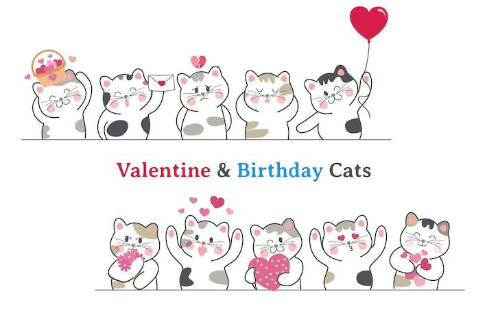 Thumbnail for Valentine & Birthday Cat Hand Drawn