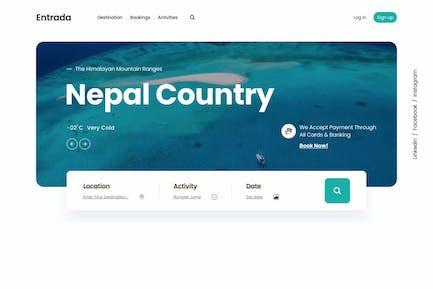 Entrada UI | Tour Travel Landing Page | XD