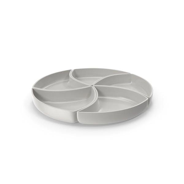 Porcelain 5 Compartment Circle Bowl
