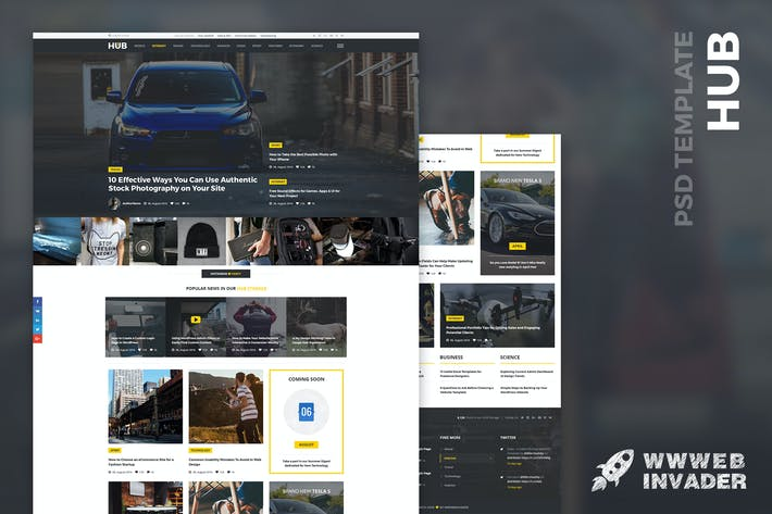 Thumbnail for HUB - Powerful Blog & Magazine PSD Template