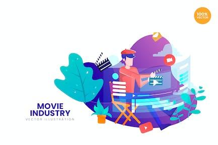 Movie Industry Vector Illustration Concept