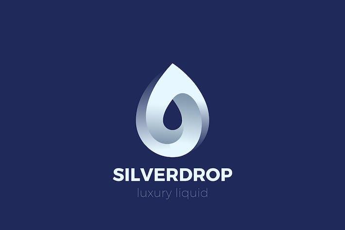 Silver Water Droplet Drop Logo Metal Steel style
