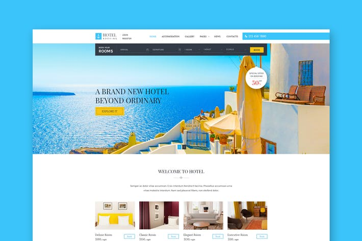 Thumbnail for Hotel Booking - Hotel Reservation PSD Template