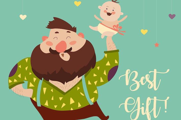 Thumbnail for Счастливый отец улыбается с маленьким ребенком. Вектор