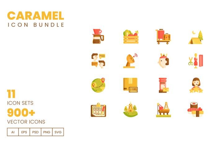 Thumbnail for 900+ Vector Icons Bundle - Caramel Series