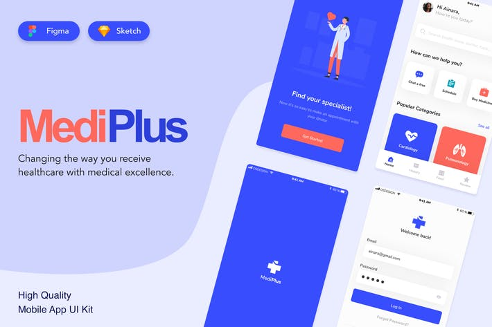Thumbnail for Medical Mobile UI Kit Design - Figma and Sketch