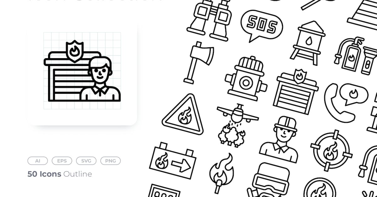 Download FIre Fighter Outline Icon by GoodWare_Std