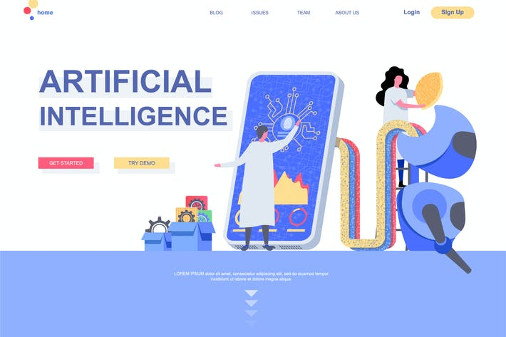 Thumbnail for Artificial Intelligence Landing Page Template