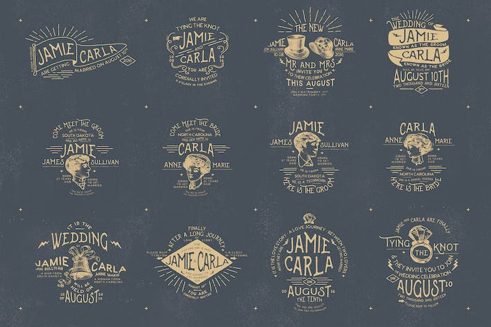 Thumbnail for 12 Vintage Wedding Badges & Stickers