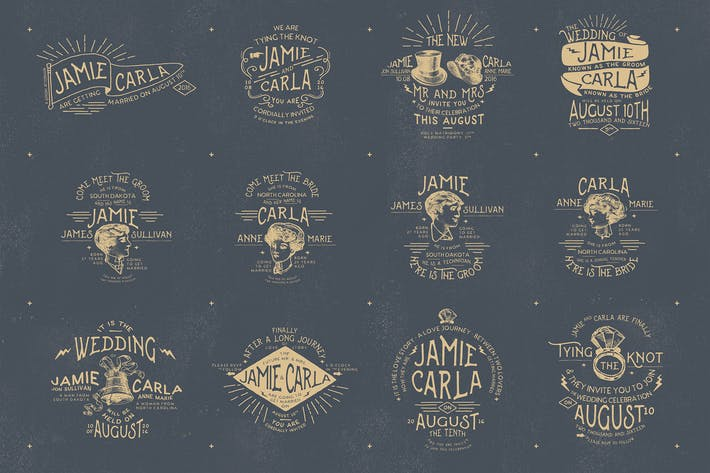 12 Vintage Wedding Badges & Stickers