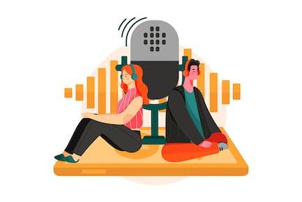 Mobile Podcast Illustration