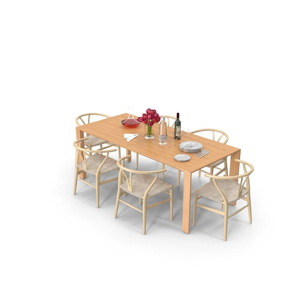 Dining Table with Tableware