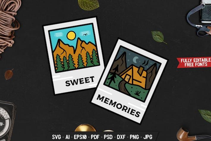 Thumbnail for Mountain Adventure Abzeichen, Vektor Retro Grafik