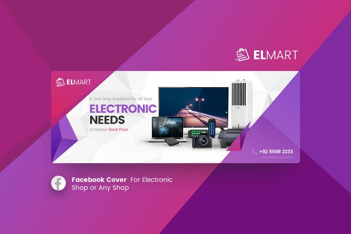 Thumbnail for Elmart - Electronic Facebook Cover Template