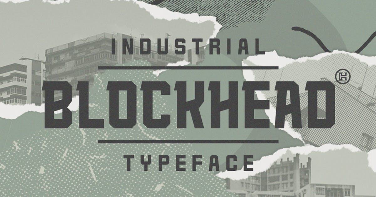 Download Blockhead Typeface|Bold Geometric Font by Mihis_Design