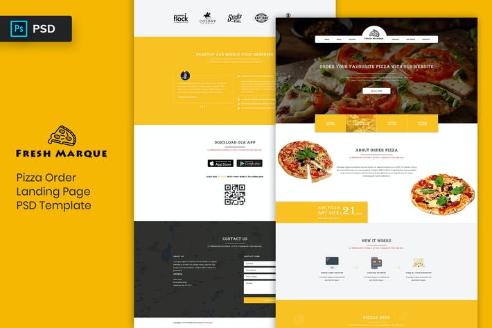 Thumbnail for Pizza Order - Landing Page PSD Template