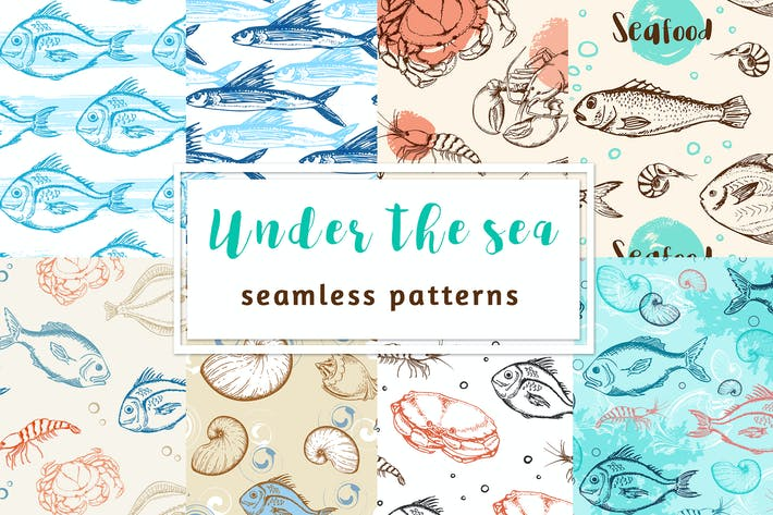 Thumbnail for Under the Sea. Seamless Patterns