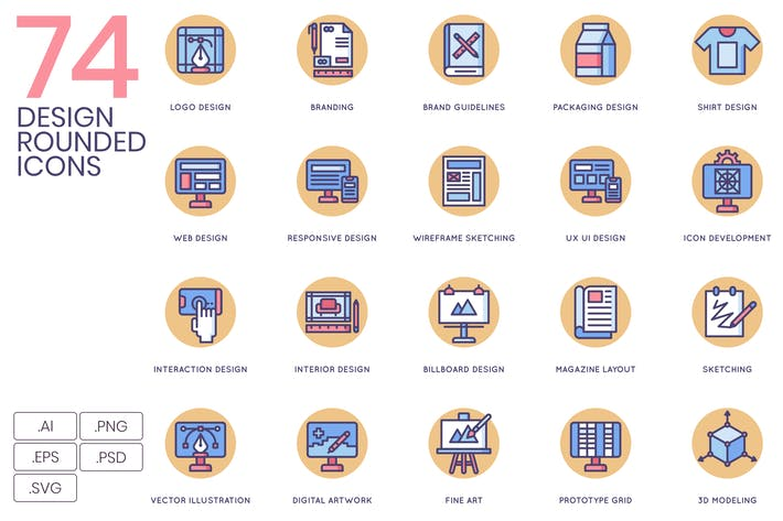 Cover Image For 74 Design Icons - Butterscotch Series