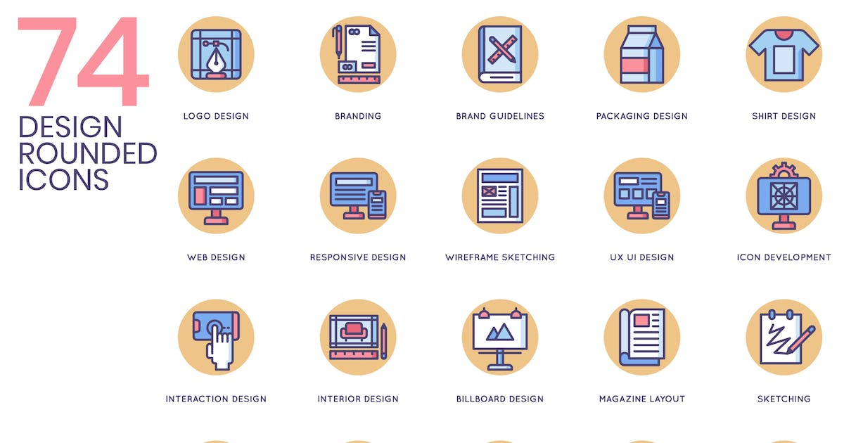 Download 74 Design Icons - Butterscotch Series by Krafted
