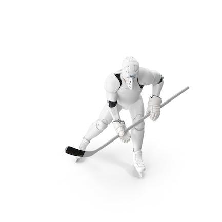 Hummanoid Hockey Player Wtih Stick Pose White