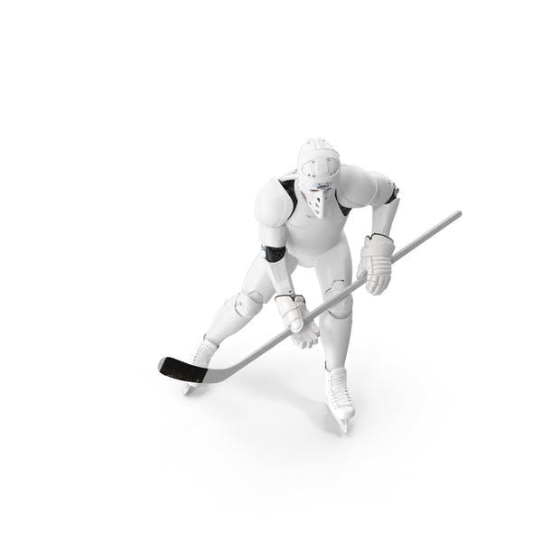 Thumbnail for Hummanoid Hockey Player Wtih Stick Pose White