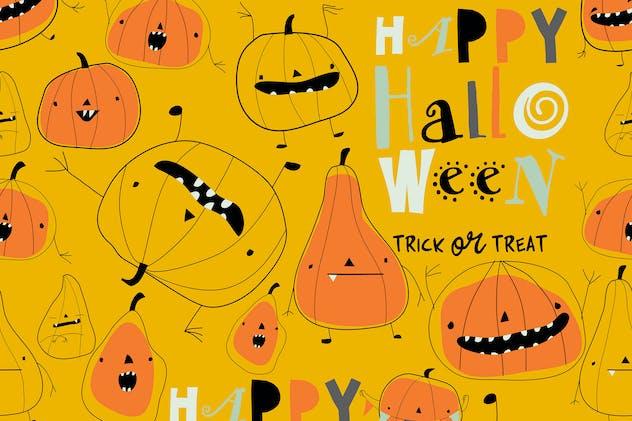Vector seamless pattern with cartoon pumpkins