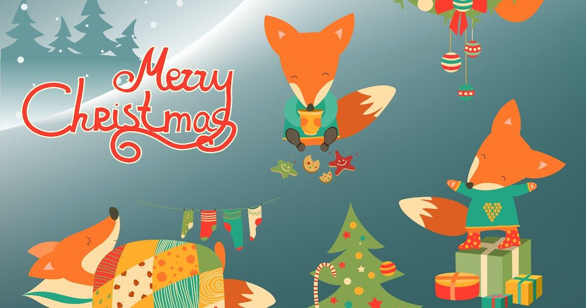 Cute little fox celebrating Christmas. Vector by masastarus