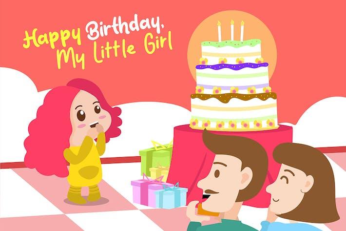 Thumbnail for Birthday a Little Girl - Vector Illustration