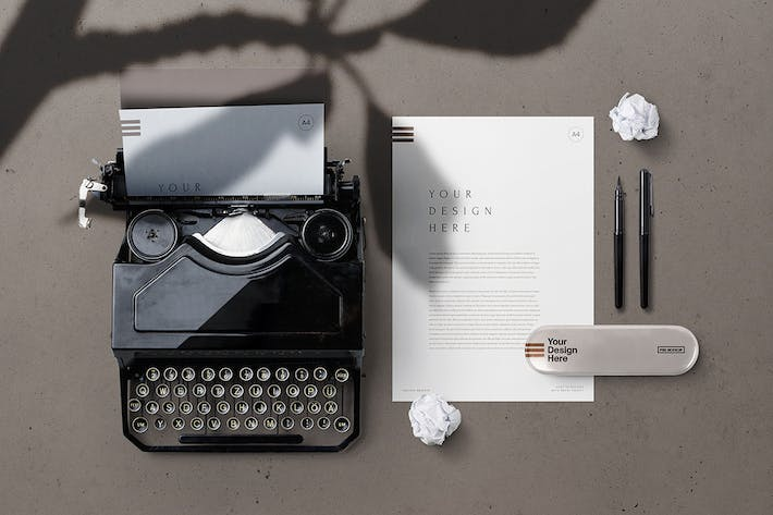 Thumbnail for A4 Paper & Vintage Typewriter Stationery Mockup