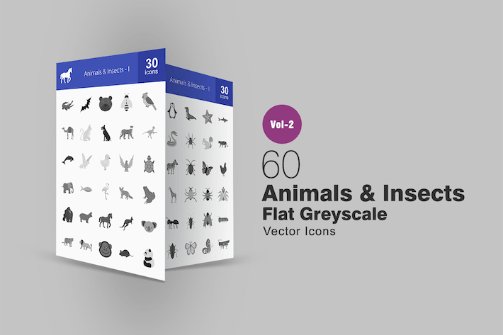 Thumbnail for 60 Animals & Insects Greyscale Icons