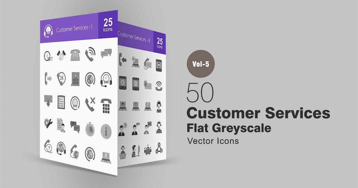 Download 50 Customer Services Greyscale Icons by IconBunny