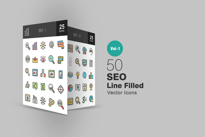 Thumbnail for 50 SEO Line Filled Icons