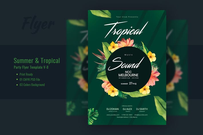 Thumbnail for Summer & Tropical Sound Flyer Template V-8