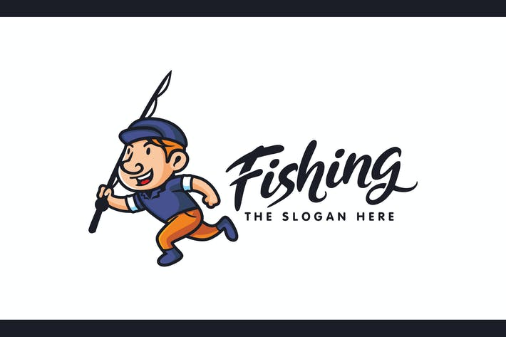 Thumbnail for Happy Kid With Fishing Rod Character Mascot Logo