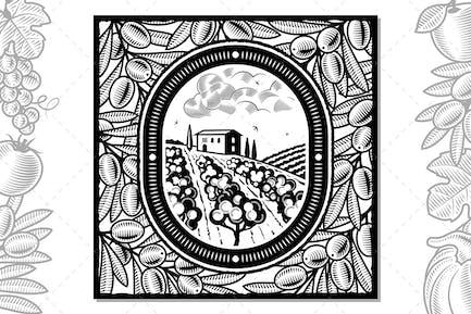 Olive Harvest Design Black And White