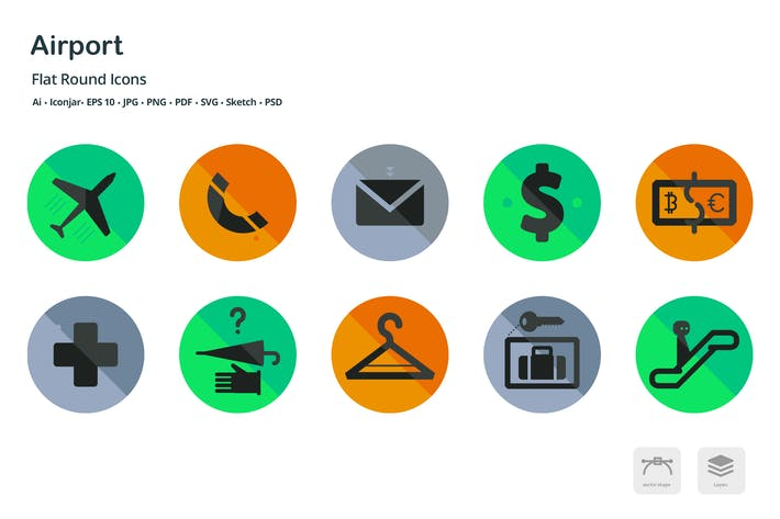 Thumbnail for Airport and Travel Flat Round Icons