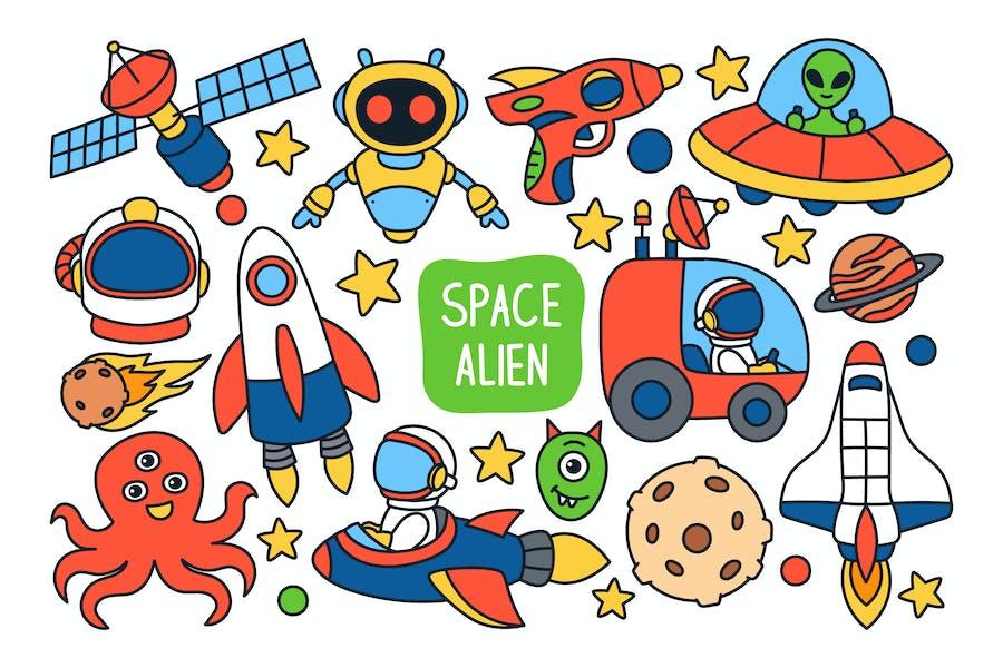 Weltraum und Alien-Doodle-Illustration