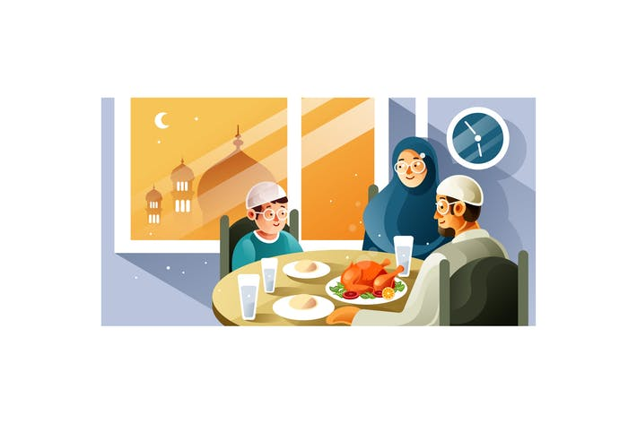 Thumbnail for Muslim family enjoy Iftar meal in Ramadan