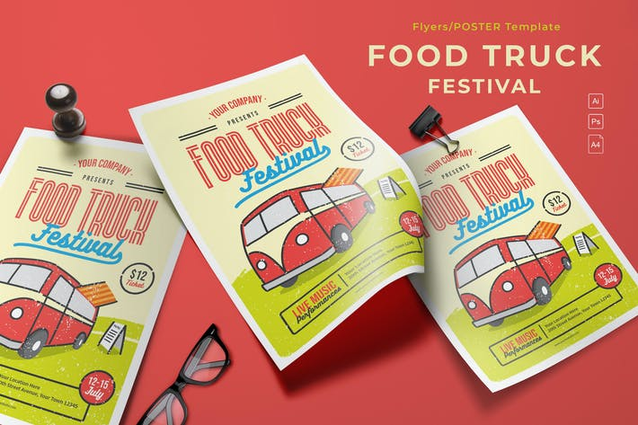 Food Truck Festival Modèle de dépliant
