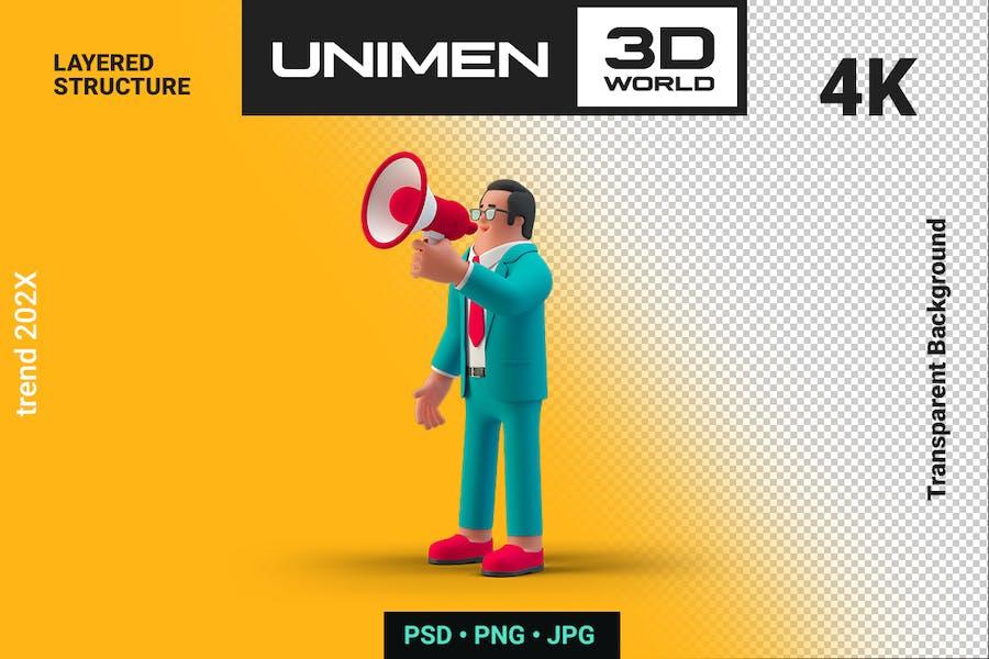 Businessman Talking Megaphone Marketing Promo 3D