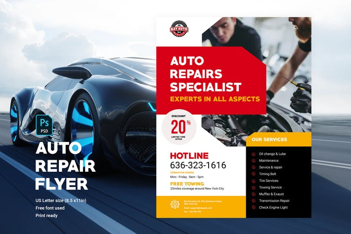 Thumbnail for Full-Service Auto Repair Flyer Template 4
