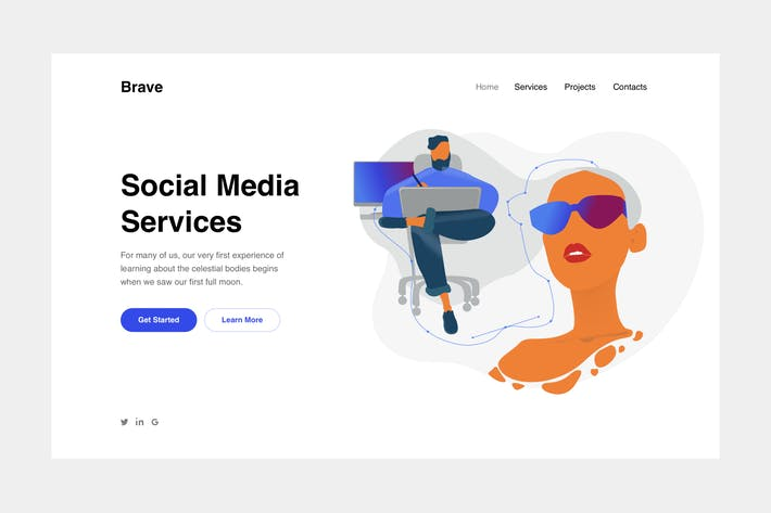 Vector Drawing Landing Page Illustration