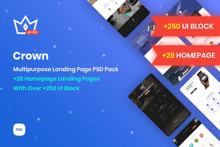 Thumbnail for Crown - Página inicial do PSD de marketing multiuso
