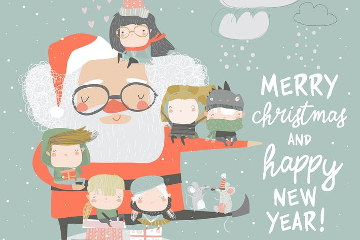Thumbnail for Santa Claus with happy children and gifts. Vector