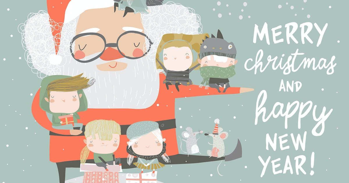 Download Santa Claus with happy children and gifts. Vector by masastarus