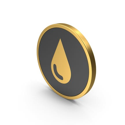 Water Drop Icon Gold