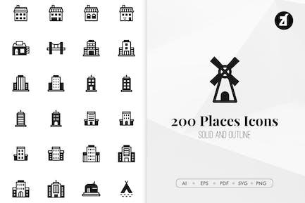 200 Lugares y Edificios Íconos Minimalista