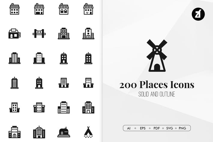 Thumbnail for 200 Places and buildings minimal icons