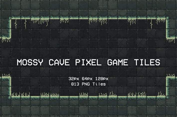Thumbnail for Mossy Cave Pixel Game Tiles