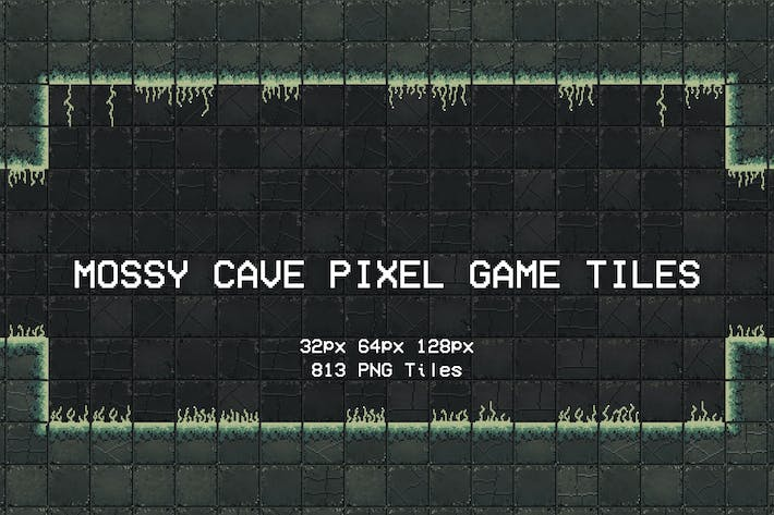 Mossy Cave Pixel Game Tiles